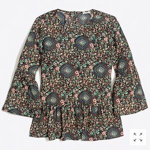 J Crew printed bell-sleeve top ✨